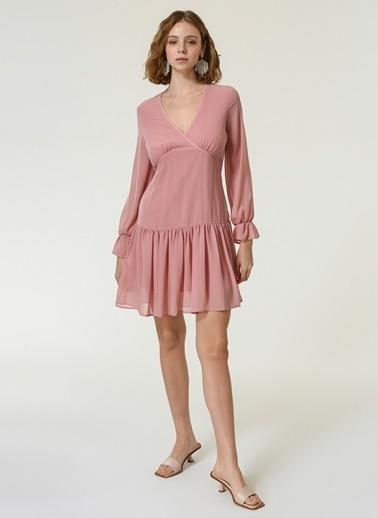 NGSTYLE Kadın Volan Detaylı Mini Elbise NGKSS20EL0150 Pudra